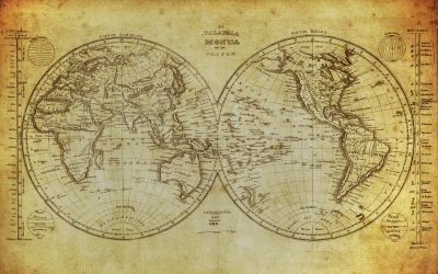 Vintage World Map 2 Wall Mural
