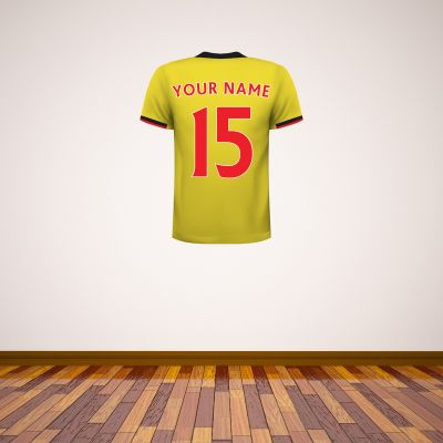 Watford FC - Personalised Name and Number Shirt Wall Sticker + Decal Set