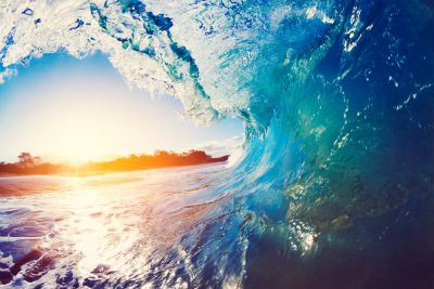 Ocean Wave at Sunrise Wall Mural