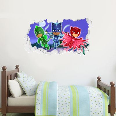 PJ Masks: 3 Characters Broken Wall Sticker