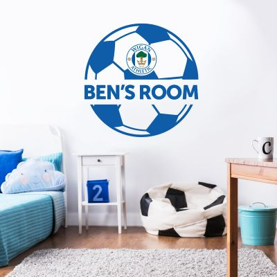 Wigan Athletic F.C. Ball & Personalised Name Wall Sticker
