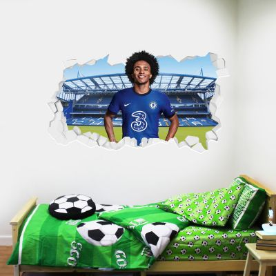 Chelsea Football Club - Willian 20/21 Broken Wall Mural + Blues Wall Sticker Set