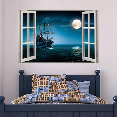 Pirate Wall Sticker Night Time Window