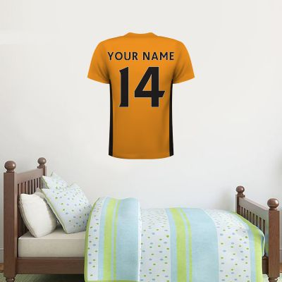 Wolverhampton Wanderers F.C. - Personalised Name and Number Shirt Wall Sticker + Wolves Wall Sticker Set