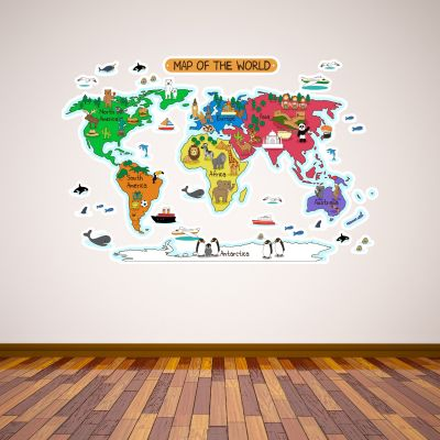 World Map Animals Wall Sticker