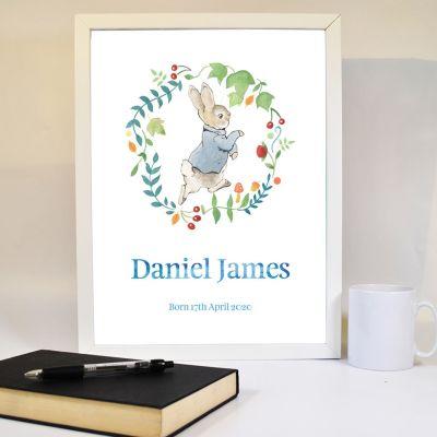 Peter Rabbit Print - Wreath Personalised Name & Date Print