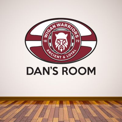 Wigan Warriors Rugby Ball & Crest Personalised Wall Sticker