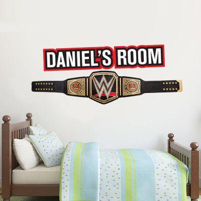 WWE - Championship Belt & Personalised Name Wall Sticker