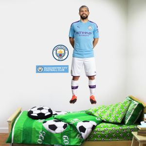 Manchester City FC - Sergio Aguero 2019 Player Decal + Bonus Wall Sticker Set