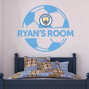 Manchester City Football Club - Personalised Ball and Name + Bonus Wall Sticker Set