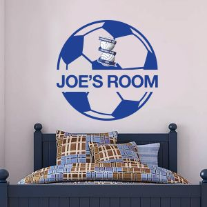 Birmingham City F.C. - Ball Design & Personalised Name + Blues Wall Sticker Set