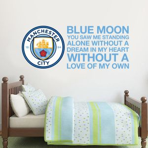 Manchester City Football Club - Blue Moon Song with Crest Wall Sticker