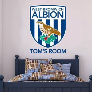 West Bromwich Albion Football Club - Personalised Name & Crest + Baggies Wall Sticker Set