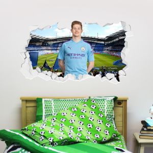 Manchester City Football Club - Kevin De Bruyne Smashed Wall Mural + Bonus Wall Sticker Set