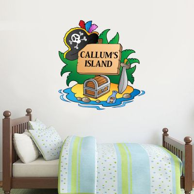 Pirate Wall Sticker Personalised Name Island Sign