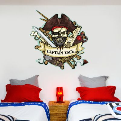 Pirate Wall Sticker Personalised Name Skull