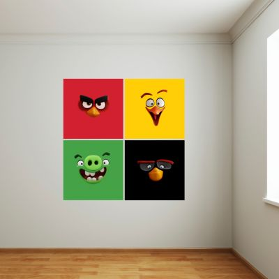 Angry Birds Squares - Red, Chuck, Pig & Bomb Wall Sticker