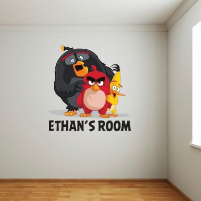 Angry Birds - Red, Chuck & Bomb Personalised Name Wall Sticker (happy)