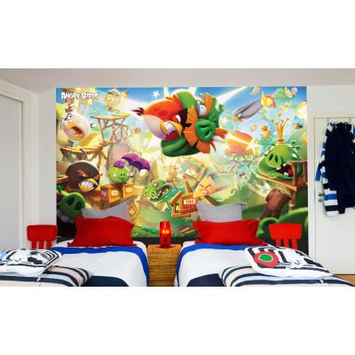 Angry Birds Full Wall Mural - Red Smashing Pig Image