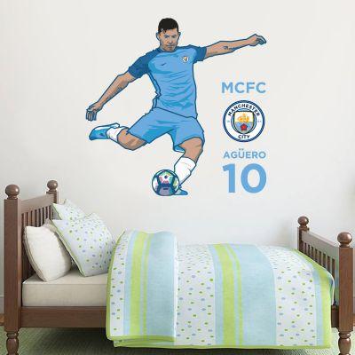 Manchester City Football Club - Sergio Aguero Player Decal + Bonus Wall Sticker Set