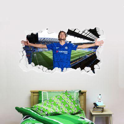 Chelsea Football Club - Marcos Alonso Broken Wall Mural + Blues Wall Sticker Set