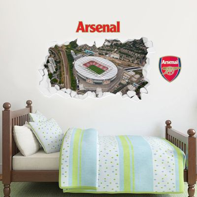 Arsenal Football Club - Smashed Emirates Stadium Aerial View Mural + Gunners Wall Sticker Set