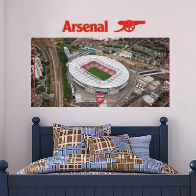 Arsenal Football Club - Emirates Stadium Aerial View Mural + Gunners Wall Sticker Set