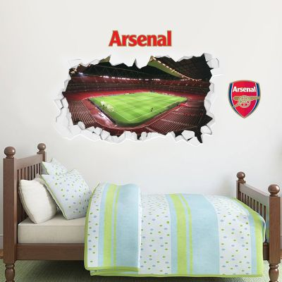 Arsenal Football Club - Empty Smashed Emirates Stadium Inside View + Gunners Wall Sticker Set