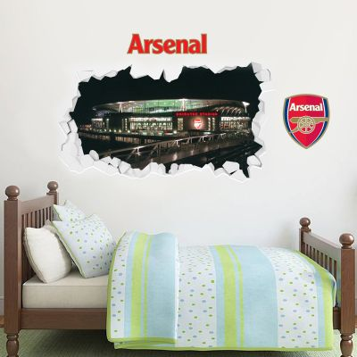 Arsenal Football Club - Smashed Emirates Stadium Outside View Mural + Gunners Wall Sticker Set