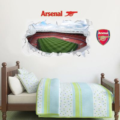 Arsenal Football Club - Smashed Emirates Stadium Rooftop View + Gunners Wall Sticker Set