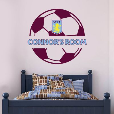 Aston Villa Football Club Ball Design & Personalised Name Wall Sticker