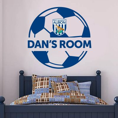West Bromwich Albion Football Club - Ball Design & Personalised Name + Baggies Wall Sticker Set