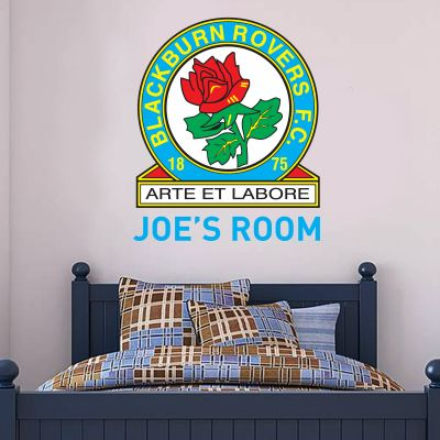 Blackburn Rovers F.C. - Personalised Name & Crest + Riversiders Wall Sticker Set