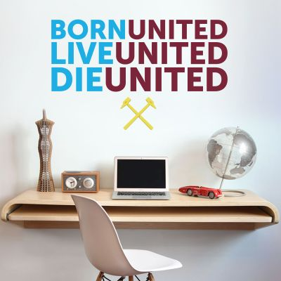 West Ham United Football Club - 'Ball, Live, Die' Quote Wall Decal + Hammers Wall Sticker Set