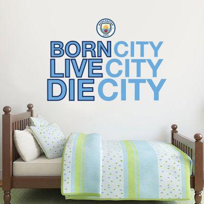 Manchester City Football Club - 'Born, Live, Die City' Wall Decal + Bonus Wall Sticker Set