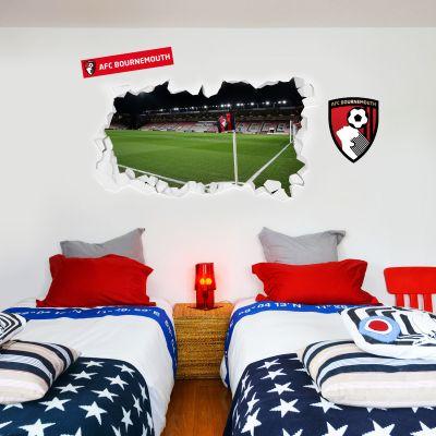 AFC Bournemouth - Smashed Vitality Stadium (Corner Flag View) Wall Mural + Cherries Wall Sticker Set