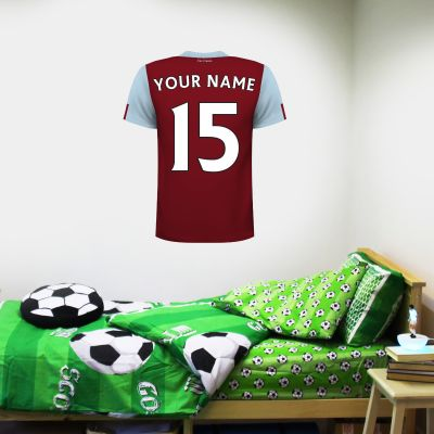 Burnley Football Club - Personalised Name and Number Shirt + Clarets Wall Sticker Set