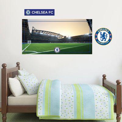 Chelsea Football Club - Stamford Bridge Stadium (Evening) Wall Mural + Blues Wall Sticker Set