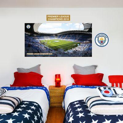 Premier League Champions 2018 - Etihad Stadium Mural (Corner Shot) + Wall Sticker Set