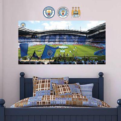 Premier League Champions 2018 - Etihad Stadium Mural (Side Shot) - Wall Sticker Set