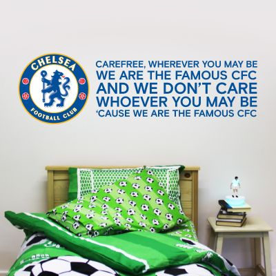 Chelsea Football Club Crest & 'Care Free' Song Wall Mural Sticker & Badge Wall Decal Set