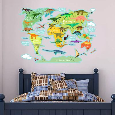 Dinosaur Wall Sticker World Map