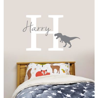 Dinosaur Wall Sticker Personalised Name and Letter