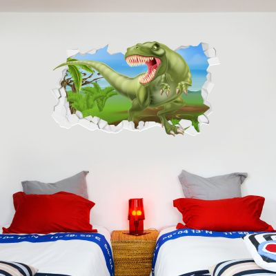 Dinosaur Wall Sticker Dino Stepping Out Broken Wall