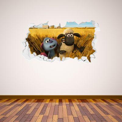 Shaun The Sheep: Farmageddon Shaun And Lu-La Corn field Broken Wall Sticker