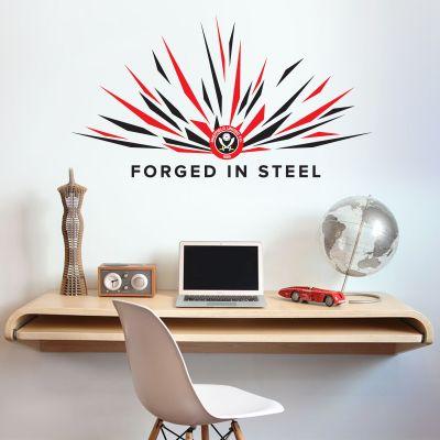 Sheffield United F.C. - Crest, Spark & 'Forged In Steel' Design + Blades Wall Sticker Set