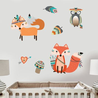 Native Wildlife - Fox & Owl Wall Sticker Set