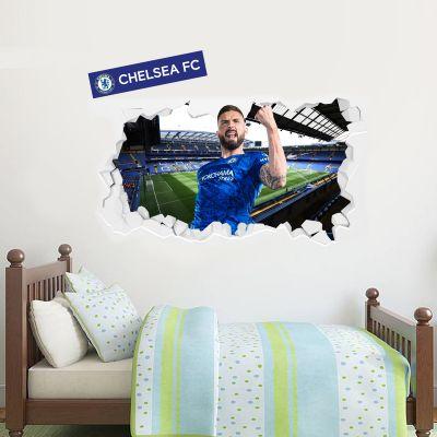Chelsea Football Club - Olivier Giroud Broken Wall Mural + Blues Wall Sticker Set