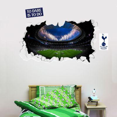 Tottenham Hotspur Football Club - Stadium Broken Wall Mural (Inside Fireworks) + Spurs Wall Sticker Set