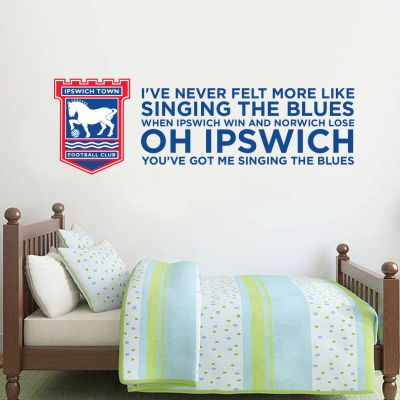 Ipswich Town F.C. - Crest & Singing The Blues Song + Blues Wall Sticker Set